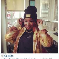 Misha B with the New Ginge London Plaque beanie